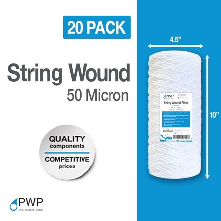 20 Pack String Wound Sediment Water Filter Cartridges 10x4.5 50 Micron
