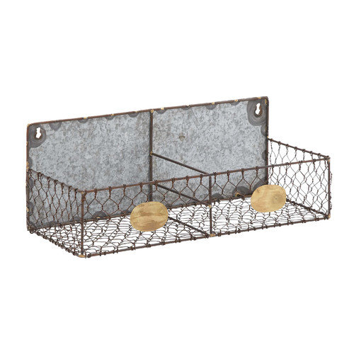 Beautiful Unique Hand Crafted Metal Wire Wall Rack With Two Sections Home Decor