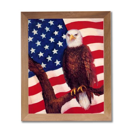 American Bald Eagle Bird With Flag Wall Picture Honey Framed Art Print