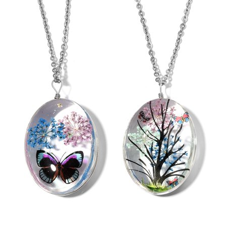 """Stainless Steel Silvertone Set of 2 Pendant Necklace for Women Jewelry Gift 24"""""""