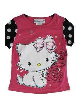 24d2b97f7 Product Image Girls Pink White Black Dot Sleeves Rose Star Print T-Shirt  7-16. Product TitleHello KittyGirls ...
