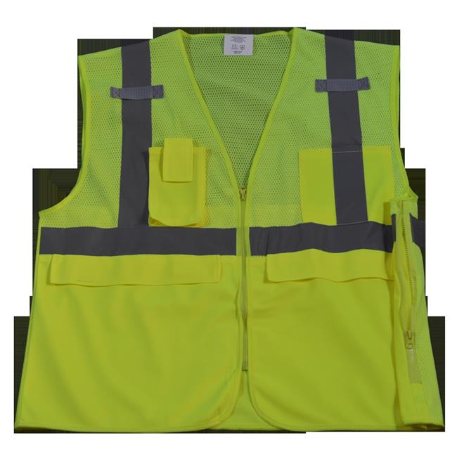 LVM2-SUV-S-M Safety Vest Ansi Class 2 Multi-Pocket Surveyors, Lime Mesh - Small & Medium