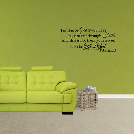 Wall Decal Quote For It Is By Grace You Have Been Saved Through Faith Ephesians 2:8 Decor Religious Vinyl Sticker (By Grace We Have Been Saved Through Faith)