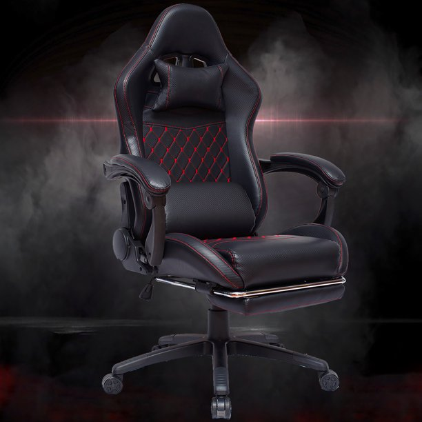 Gaming Chair Swivel Rocker Office Race Computer Game Leather Chair with Footrest