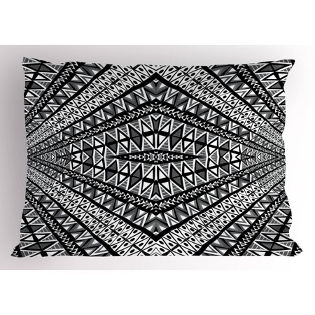 Pillow Form Sizes (Psychedelic Pillow Sham Geometric Dimension Ornament Motif with Triangle Diamond Forms Oriental Image, Decorative Standard Size Printed Pillowcase, 26 X 20 Inches, Black White, by Ambesonne)