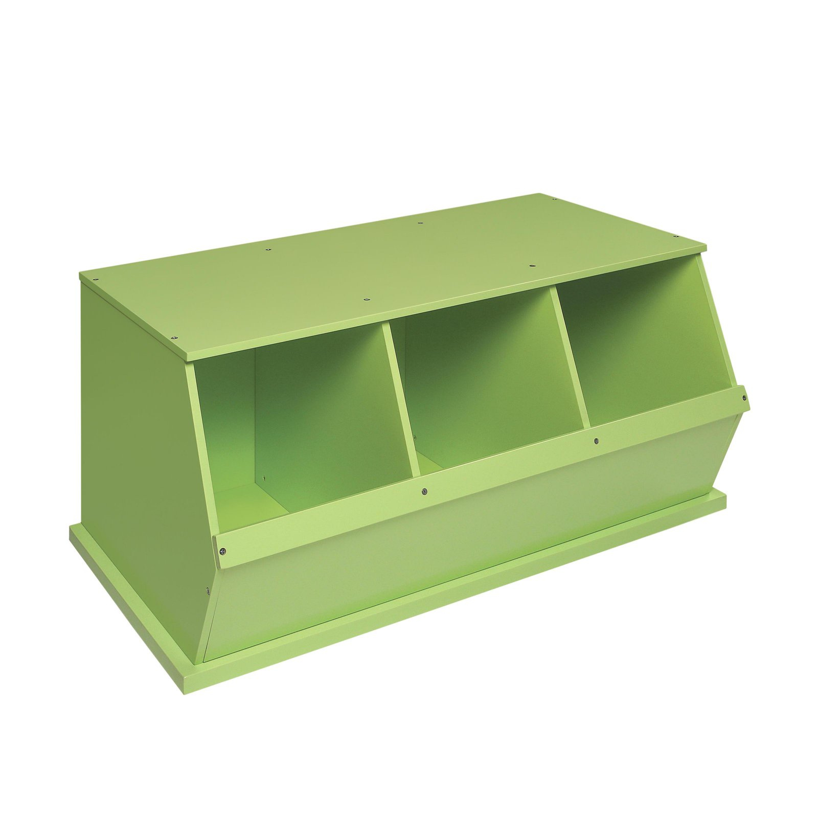 Nice Badger Basket 3 Bin Stackable Wood Storage Cubby/Bin, Sage