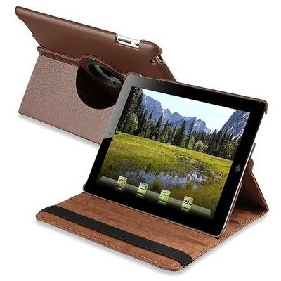 Smart Rotary Leather Case for iPad 2, iPad 3 and iPad 4th Generation - Brown