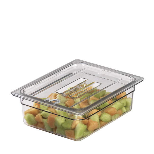 Camwear Food Pan Cover Fourth Size Notched with Handle Clear