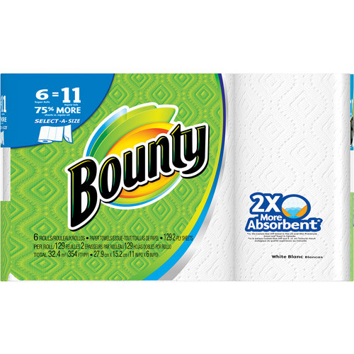 Bounty Select-A-Size Paper Towels, White, 6 Super Rolls
