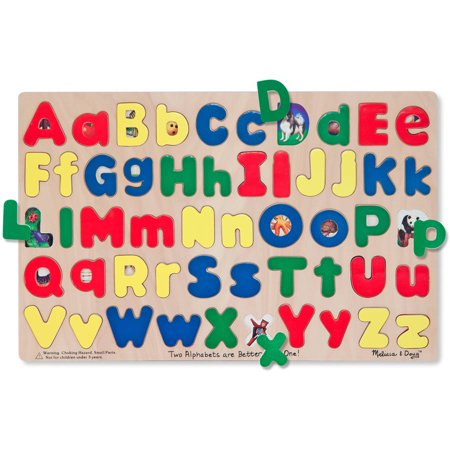 Melissa & Doug Upper & Lower Case Alphabet Letters Wooden Puzzle, 52pc