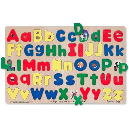 See Inside Alphabet Puzzle - Melissa & Doug Upper & Lower Case Alphabet Letters Wooden Puzzle, 52pc