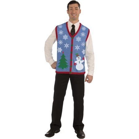 Mens Christmas Vests - Adults Mens Snowflake Snowman Ugly Christmas Sweater Party Vest Medium 40