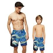 Family Mens Kids Beach 3D Print Trunks Swimwear Elastic Waist Board Shorts