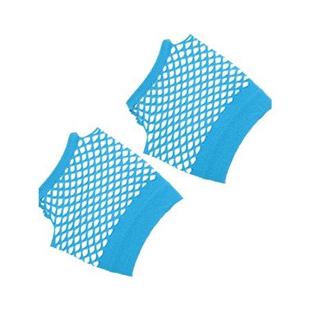 Unique Bargains Fish Net Elastic Short Gloves Fingerless Mittens Blue for Ladies Pair - Mj Gloves