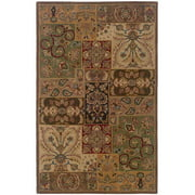 Geometric Area Rug in Green and Red (7 ft. 6 in. L x 5 ft. W)