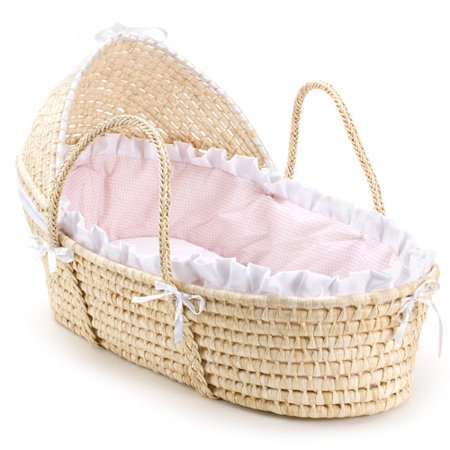 Badger Basket Moses Basket with Hood, Pink Gingham