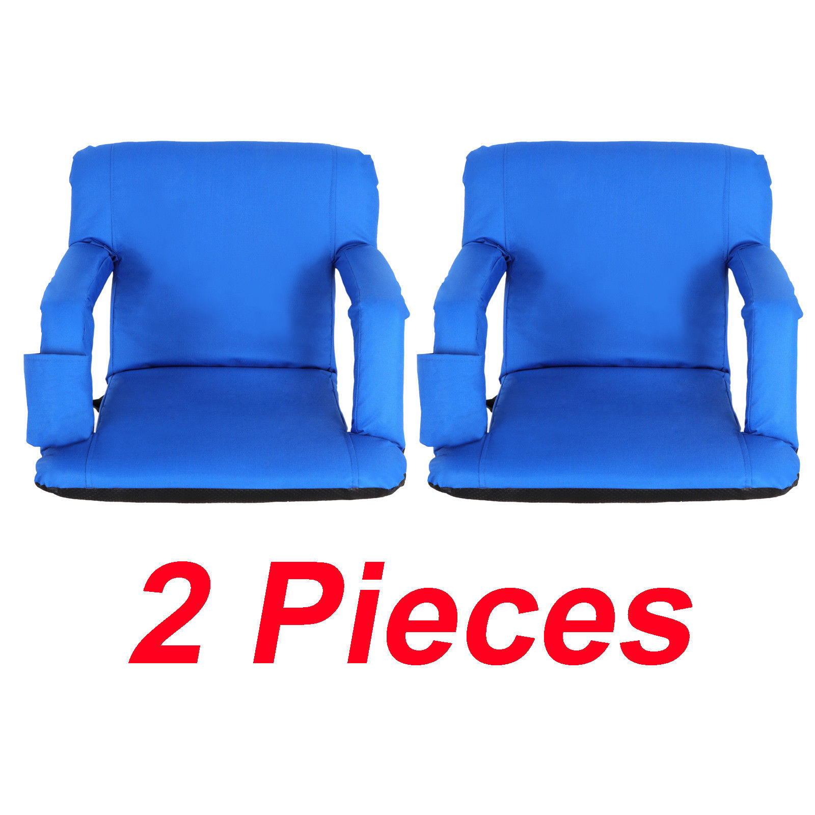 Zeny 2 Pieces Blue Wide Stadium Seat Chair Bleachers Benches 5 Reclining Positions by