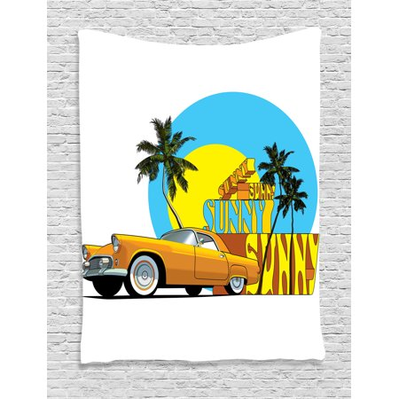 1950S Decor Wall Hanging Tapestry, Vintage Classic Car In Magic City Miami With Exotic Coconut Trees Sunny Day Beach, Bedroom Living Room Dorm Accessories, By Ambesonne
