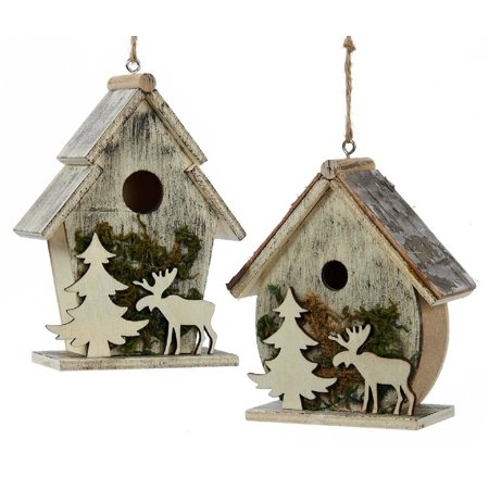 Kurt Adler Birdhouses with Moose and Tree Moss Ornaments Set of 2