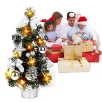 40CM Tall Battery Powered Luxury Tabletop Christmas Tree Hanging Decorations Pine Tree (Battery Not Included)