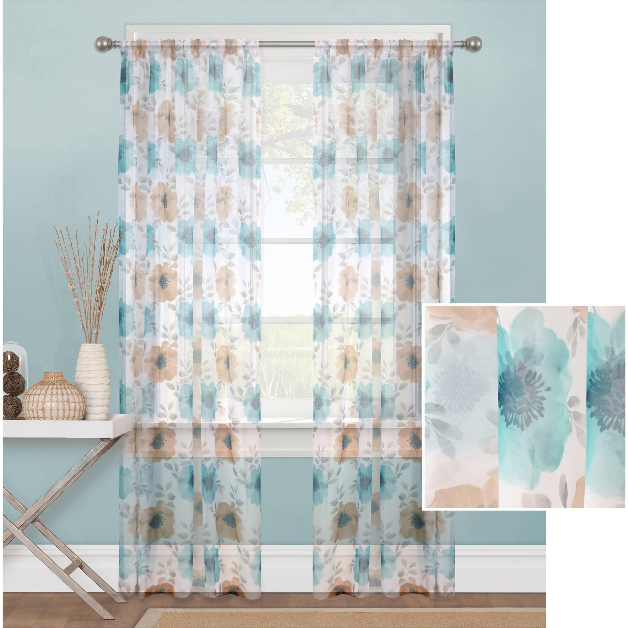 Mainstays Sheer Blossom Window Curtain Panel