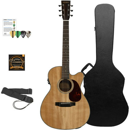 Sigma Guitars Solid A Grade Sitka Spruce Top Acoustic-Electric Folk Cutaway Guitar with ChromaCast Hard Case and Accessories (Spruce Top Folk Guitar)