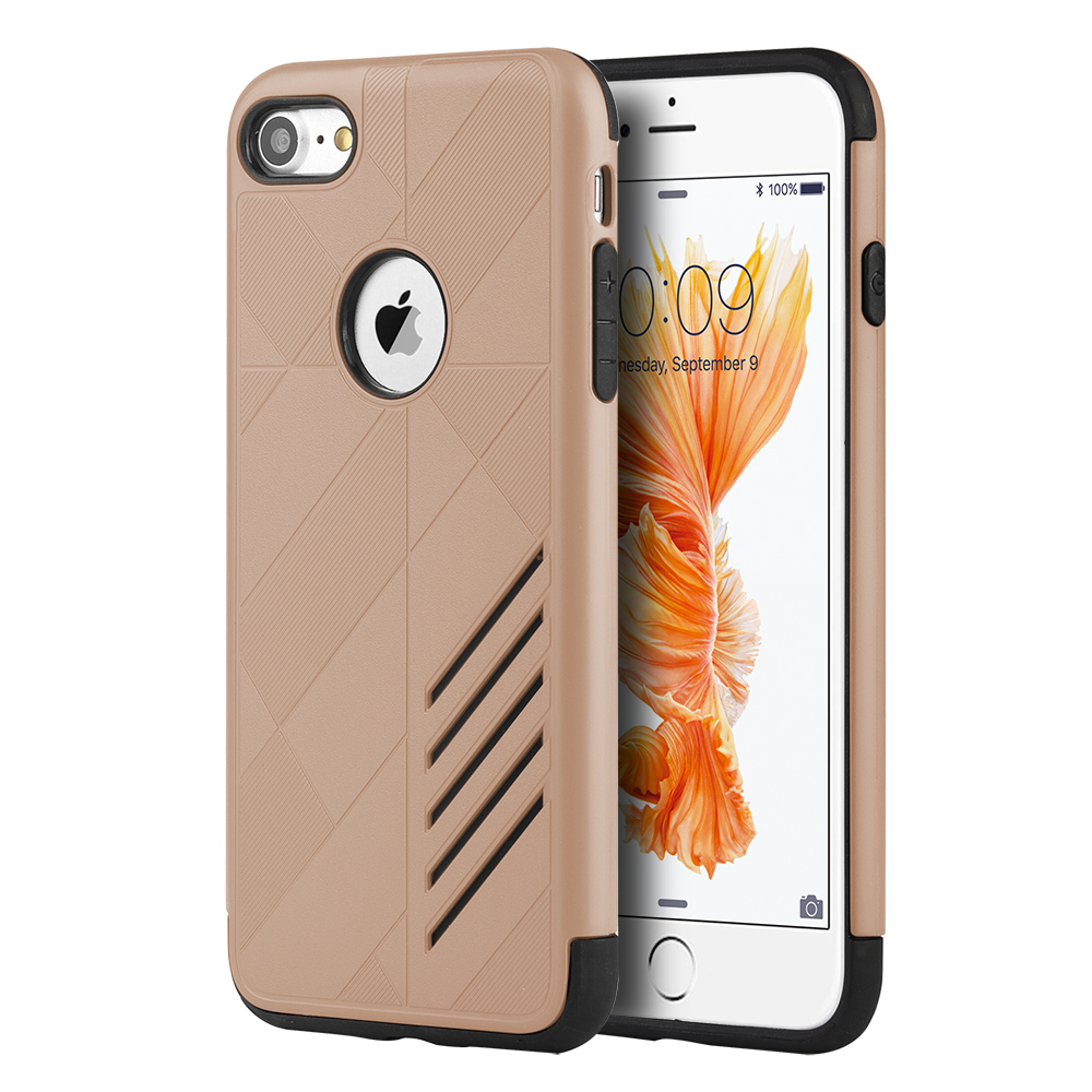 Phone Case for iPhone 7 Movement Hybrid Case Black Tpu + Gold Pc Cove