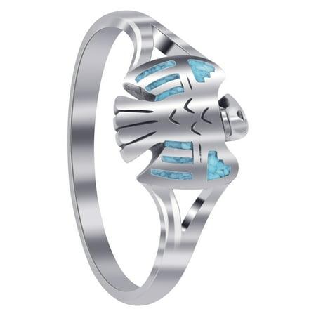 Gem Avenue 925 Sterling Silver Southwestern Eagle Shape Ring American Silver Eagle Gem