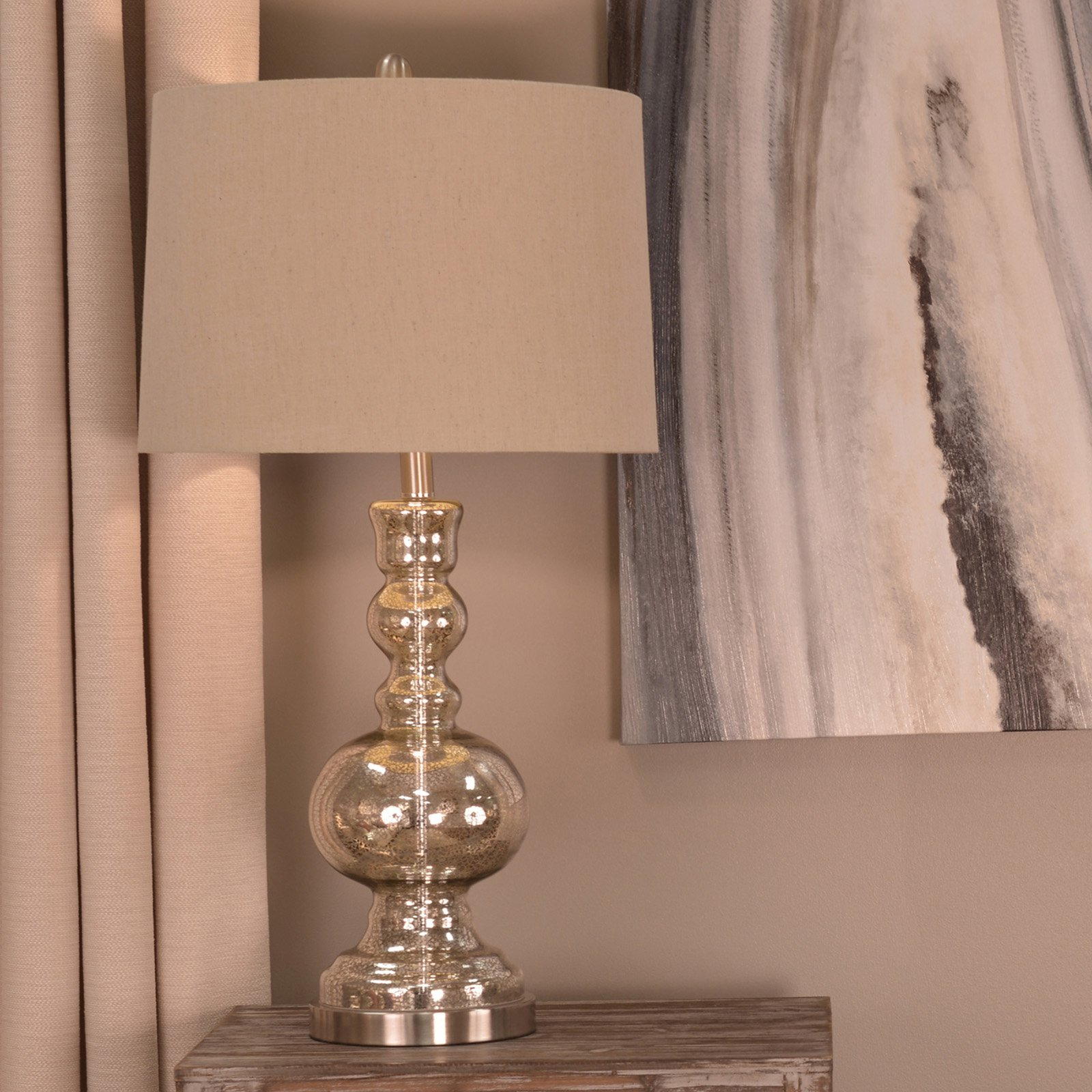Decor Therapy Silver Mercury Glass Table Lamp