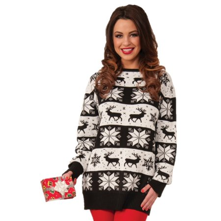 Ugly Snow Drift Christmas Sweater Adult Men Women Black White Plus Size Xl