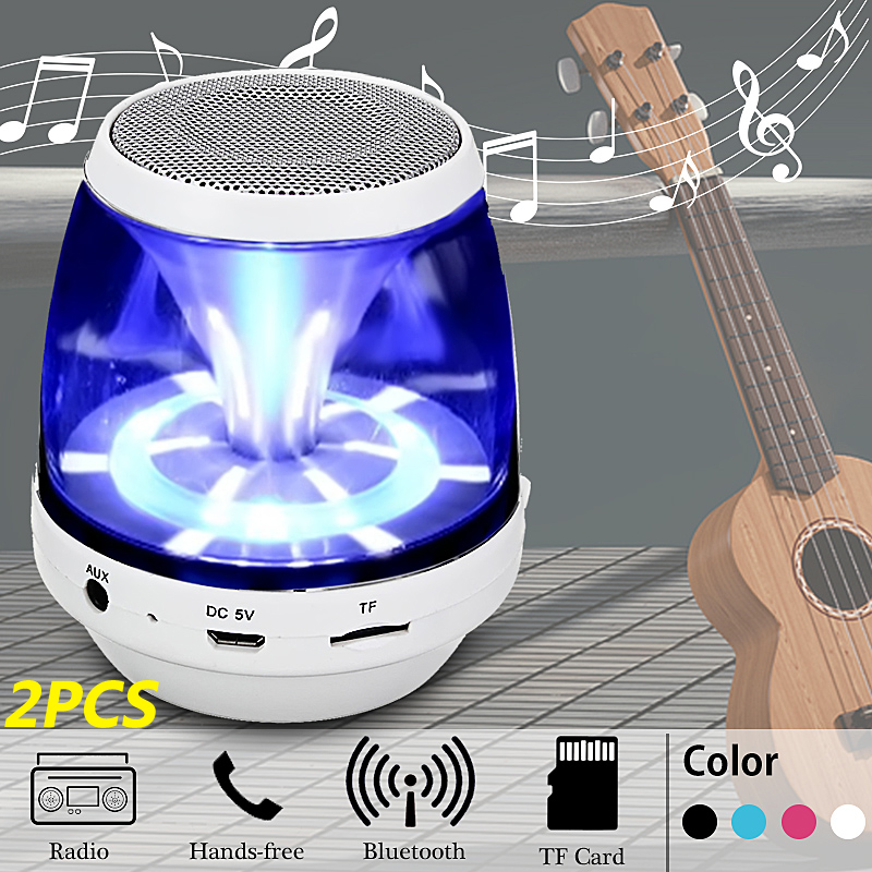 2-Pack Mini Portable Wireless Bluetooth Speaker LED Light with USB Cable For Smartphone Tablet PC