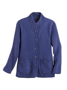 423760b93b0 Product Image Focus Fashions Women's Waffle Weave Knit Cotton Jacket -  Patch Pockets Cardigan