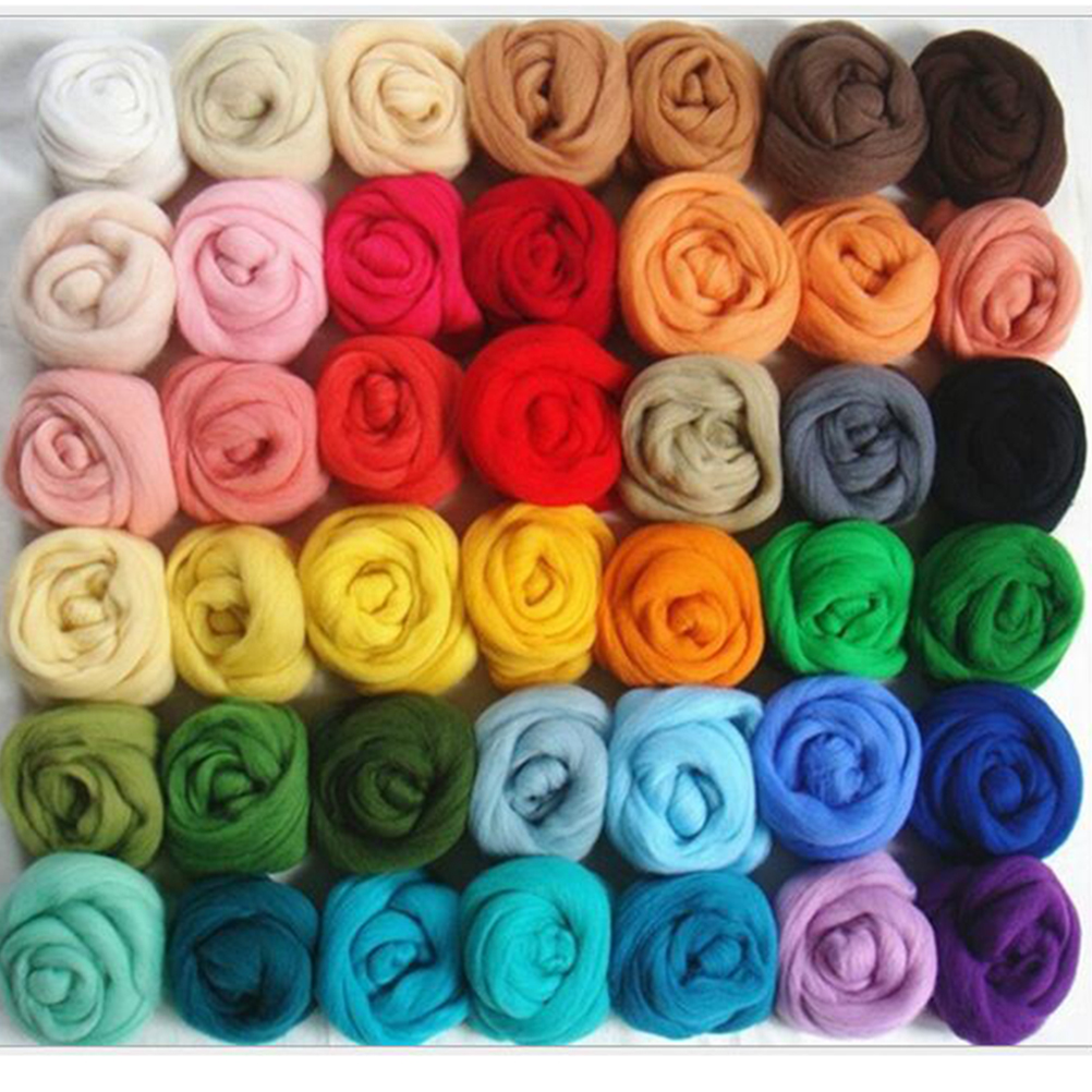 36 Colors Wool Roving Fibre Wool Yarn Roving For Needle Felting Hand Spinning DIY