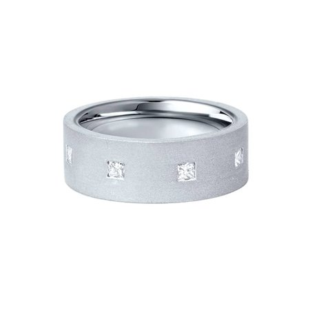 Mens 1ct 8mm Brushed Flat Comfort Fit Princess Cut Diamond Wedding Band (Diamond Flat Comfort Fit Ring)