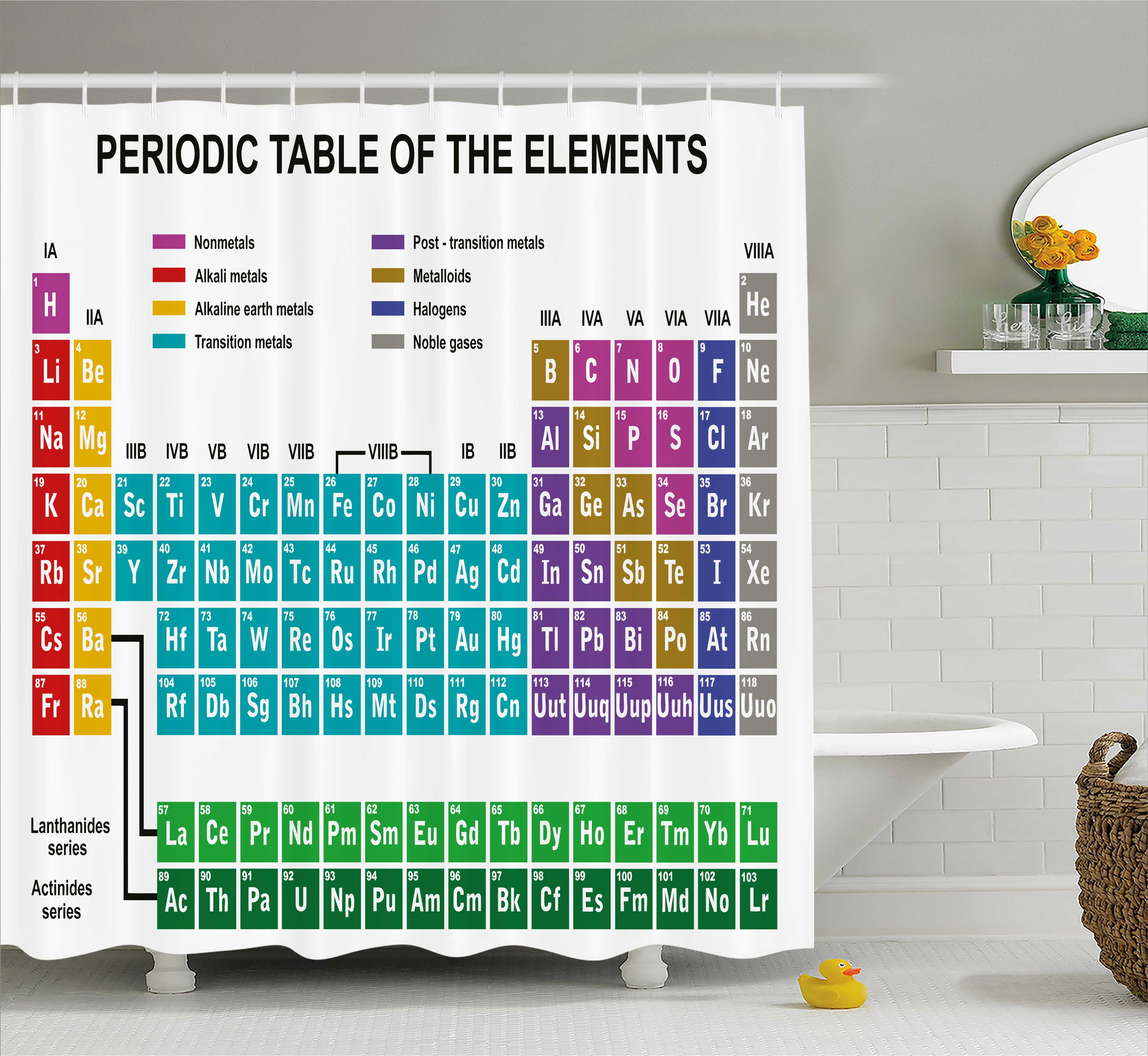 Periodic Table Shower Curtain, Educational Artwork For Classroom Science  Lab Chemistry Club Camp Kids Print