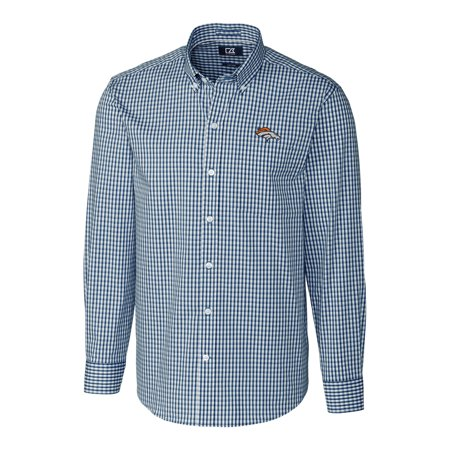 Denver Broncos Cutter & Buck Big & Tall Stretch Gingham Long Sleeve Woven Button Down Shirt - Navy
