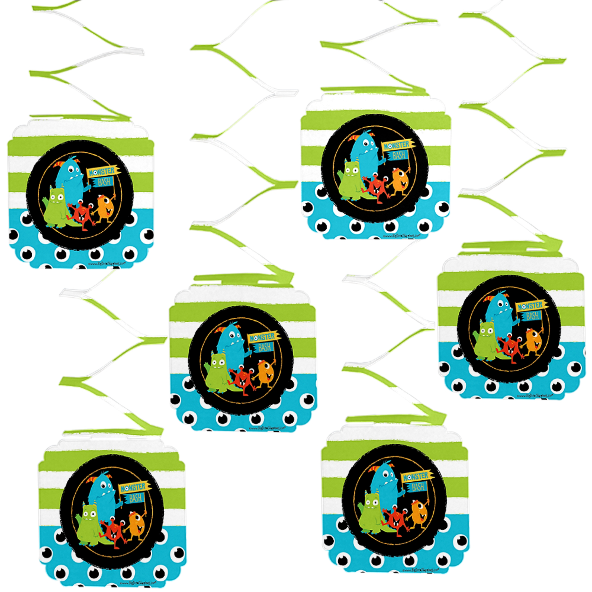 Monster Bash - Little Monster Birthday Party or Baby Shower Hanging Decorations - 6 Count