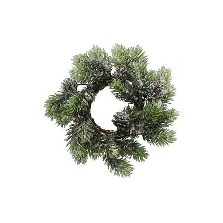 Candle Ring W/Snow Pine 10