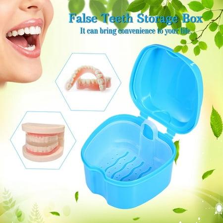 Cleaning Container Rinsing Basket Retainer Appliance Holder Tray Denture Bath Box Case Dental False Teeth Storage Box ()