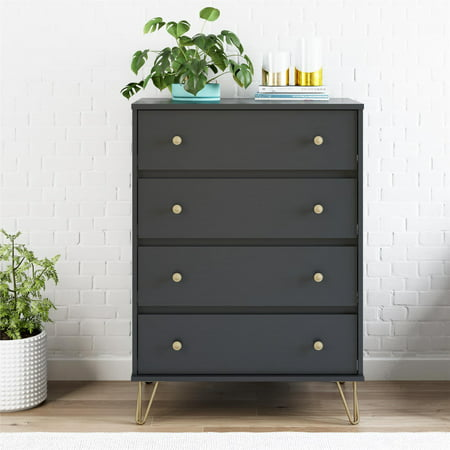 Novogratz Owen 4 Drawer Dresser, Black by Novogratz