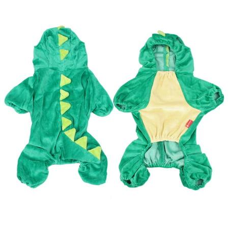 Doggie Costumes For Halloween (Halloween Hoodie Plush Dinosaur Dog Costume Clothes Doggie Jumpsuit Green)
