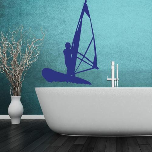 Wind Surfer Vinyl Wall Art Decal 47in x 71in Silver