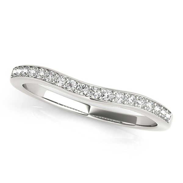 14K White Gold Channel Curved Diamond Wedding Band (1/4 ct. tw.) Size - 8