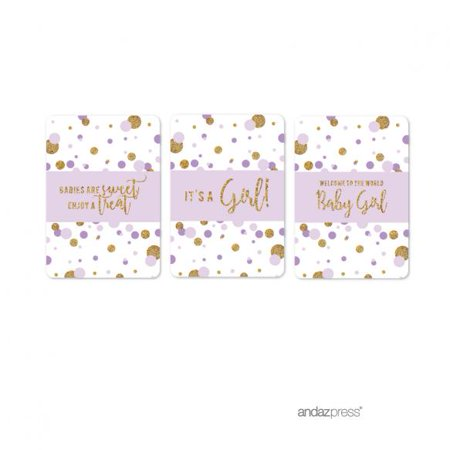 Lavender Gold Glitter Baby Shower Hershey´s Miniatures Mini Candy Bar Wrappers, 36-Pack