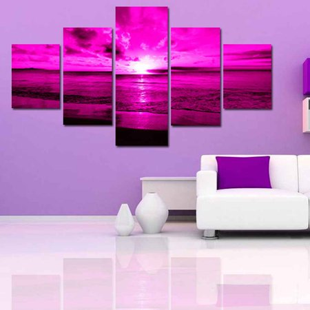 babydream1 5 Panels Purple Sea Oil Painting Sunset Wall Art Colorful Print Decoration for Living Room - image 5 de 7
