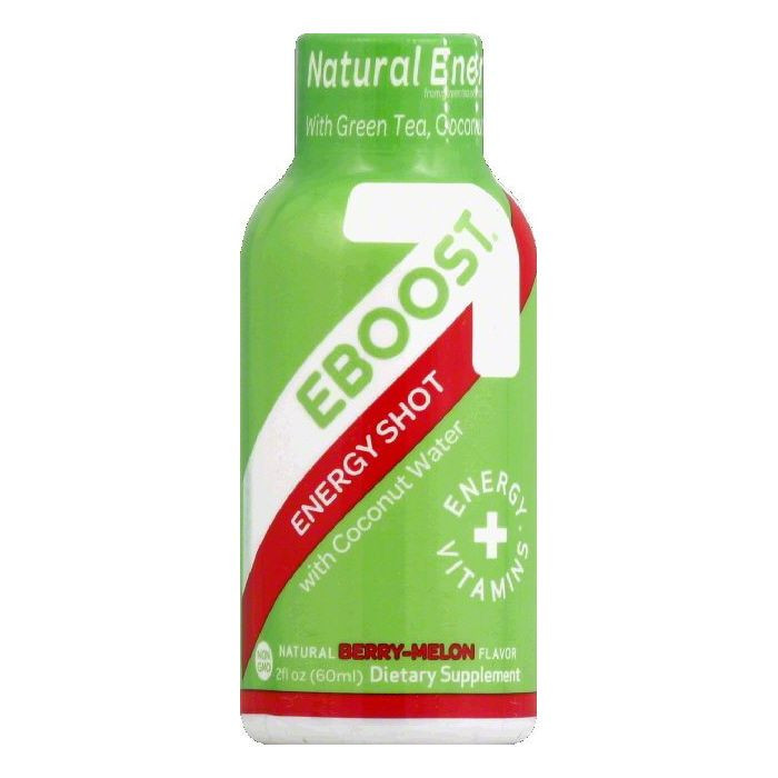 Eboost Energy Shot, with Coconut Water, Natural Berry-Melon Flavor