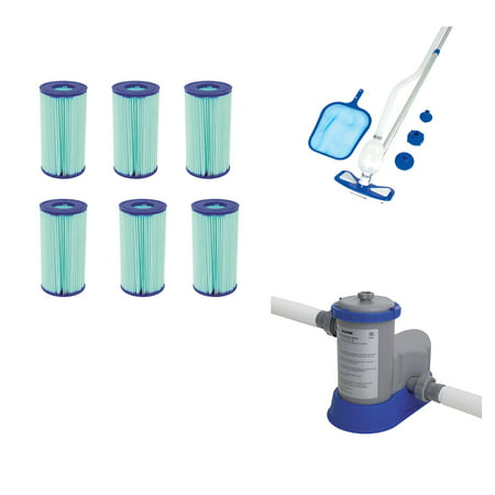 Bestway Above Ground Pool Cleaning Kit w/Pool Filter (6) + 1500 GPH Filter Pump 350 Gph Pump Kit