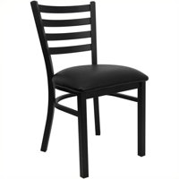 Pemberly Row Ladder Back Metal Dining Chair in Black