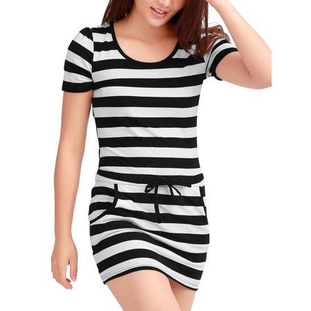 Women's Bar Striped Mini Dress w Drawstring Black (Size XL / 16) Drawstring Side Mini Dress