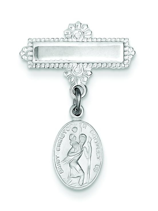 Sterling Silver Oval Saint Christopher Medal Pin by